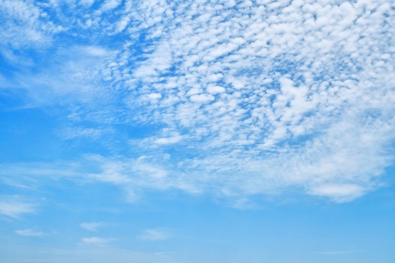青空高く浮かぶ白い羊雲の写真画像