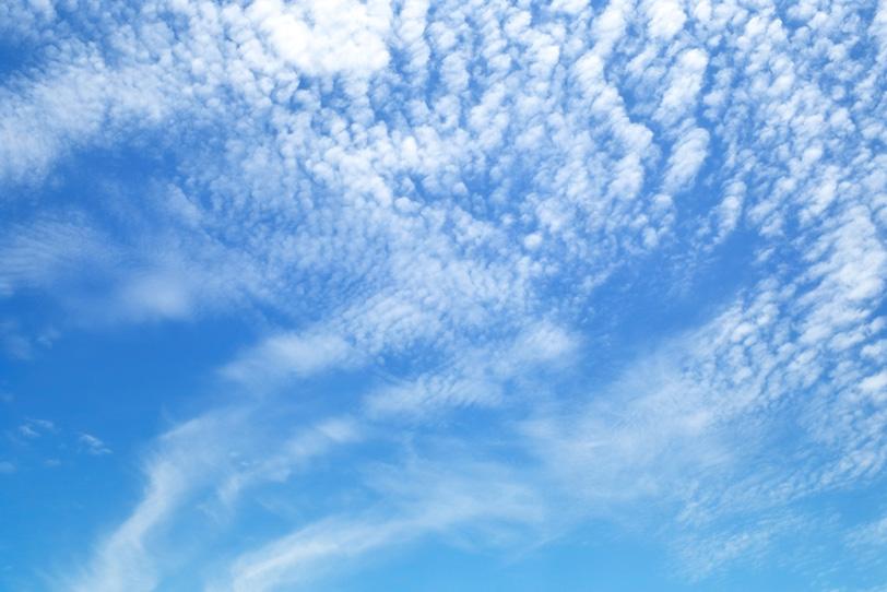 青空に広がる小さな雲の大群の写真画像