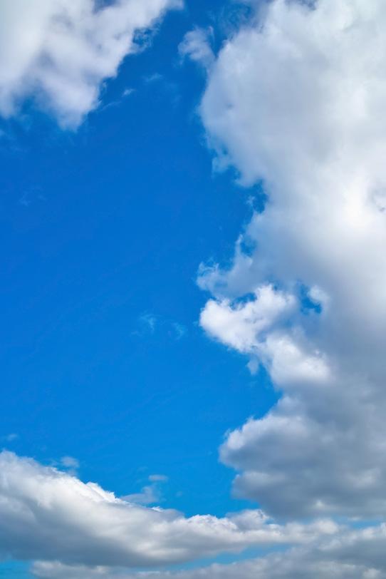 見上げる青空と大きな雲の写真画像