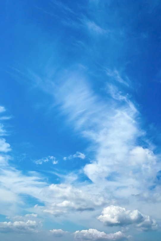多種多様な雲が浮かぶ雄麗な青空の写真画像