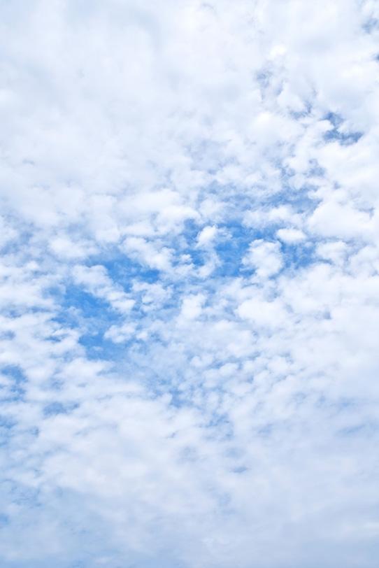 青空一杯に広がるモコモコとした雲の写真画像