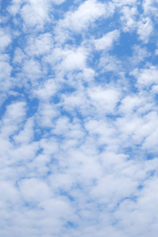 無数の綿のような雲が青空に登るの写真画像