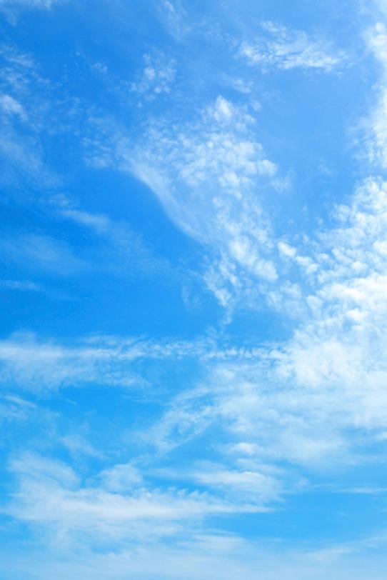 うろこ雲が高く登る青空の写真画像