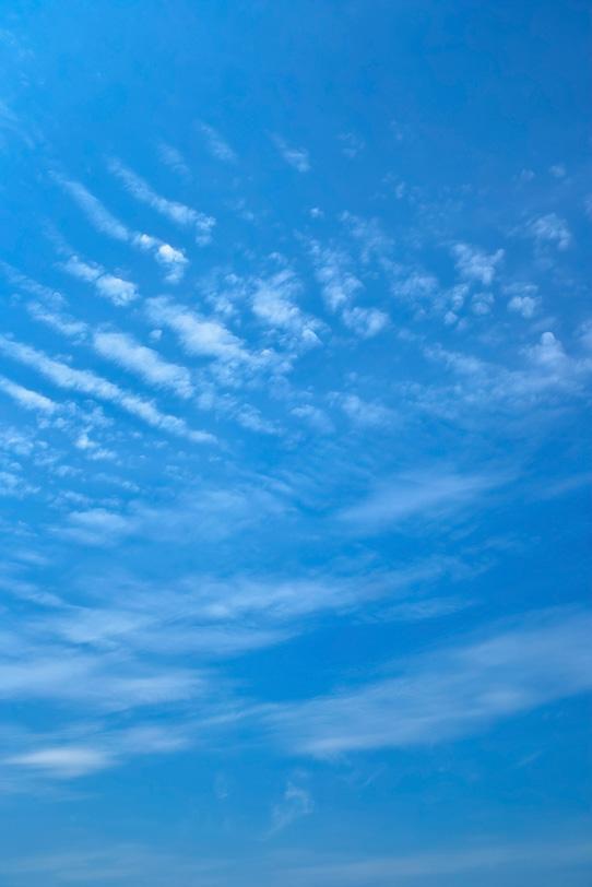 青空に重なるように並ぶ巻積雲の写真画像