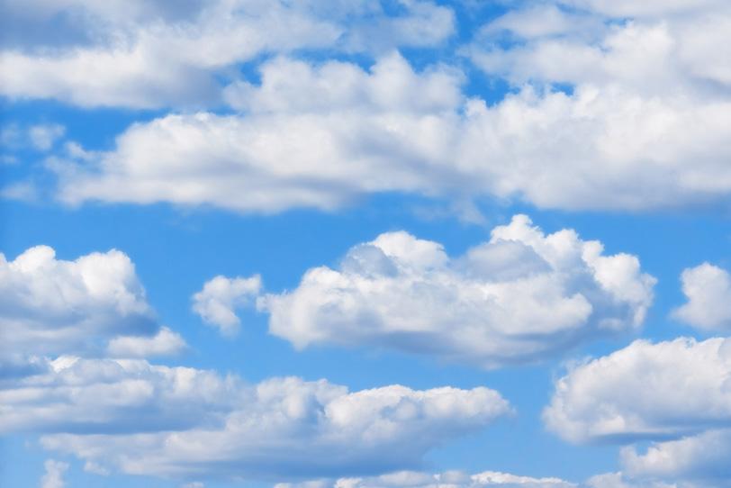 青空にひしめく大きな積雲の写真画像