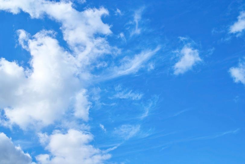 青空に幾つもの触手を伸ばす雲の写真画像