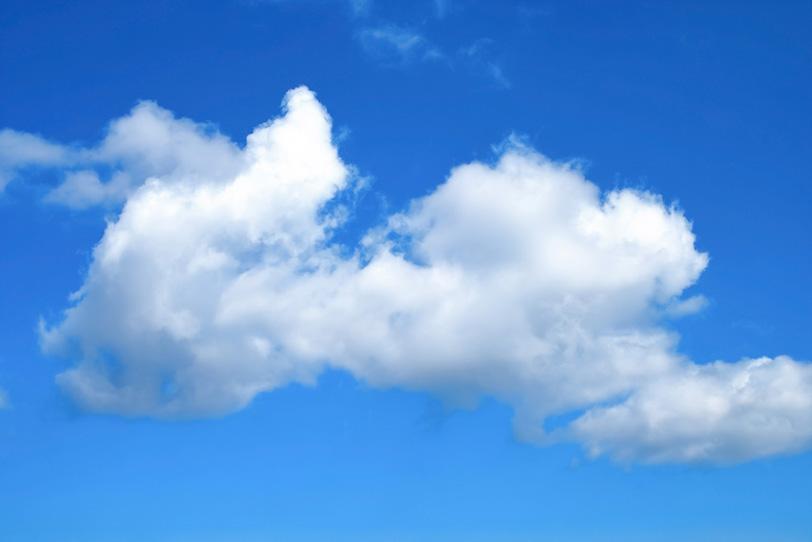 青空に悠然と浮かぶ積雲の写真画像