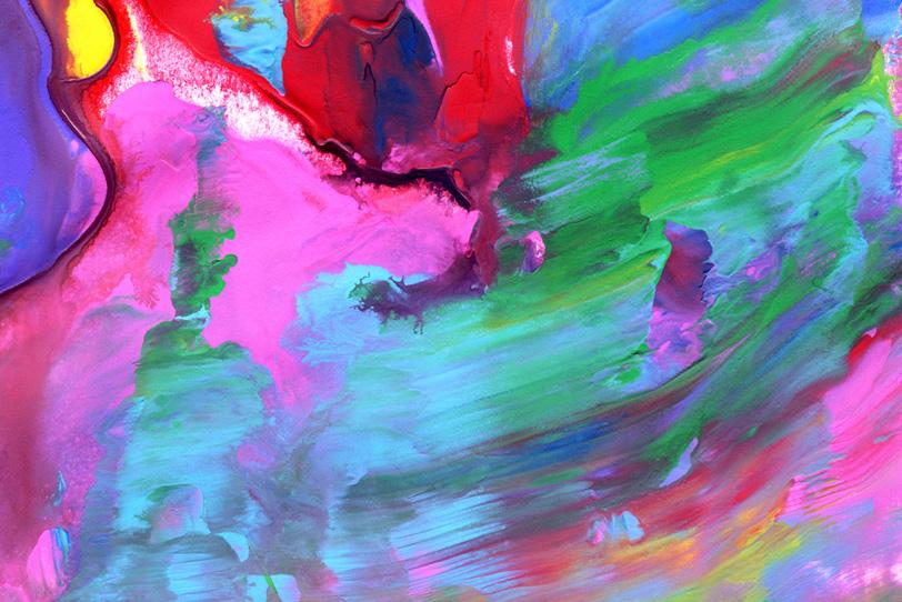 ピンクとシアンが混色する壁紙