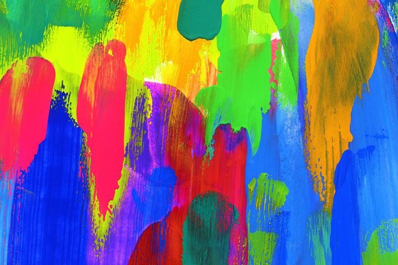 筆で塗ったカラフルな水彩絵具の壁紙