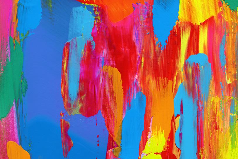 赤青黄のカラフルな水彩ペイント壁紙