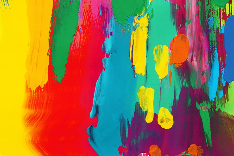 ポップな水彩タッチのカラフルな壁紙