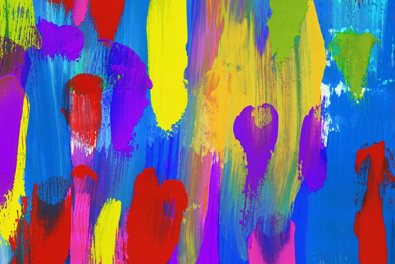 カラフルな絵具を筆で塗った壁紙