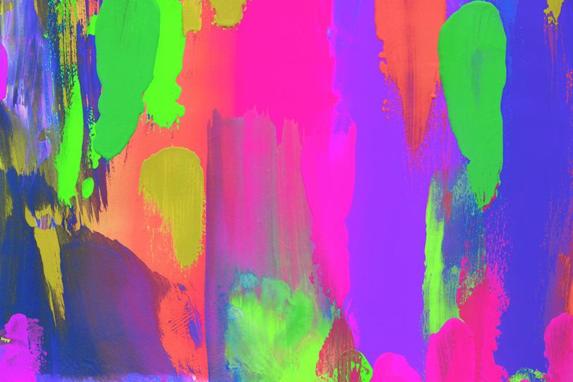 派手な蛍光カラーをペイントした壁紙