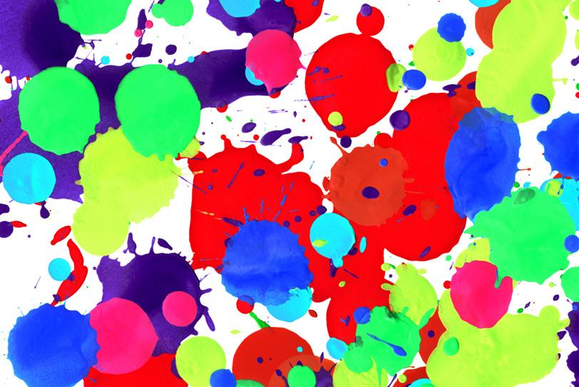 レトロポップな色彩のペイント壁紙