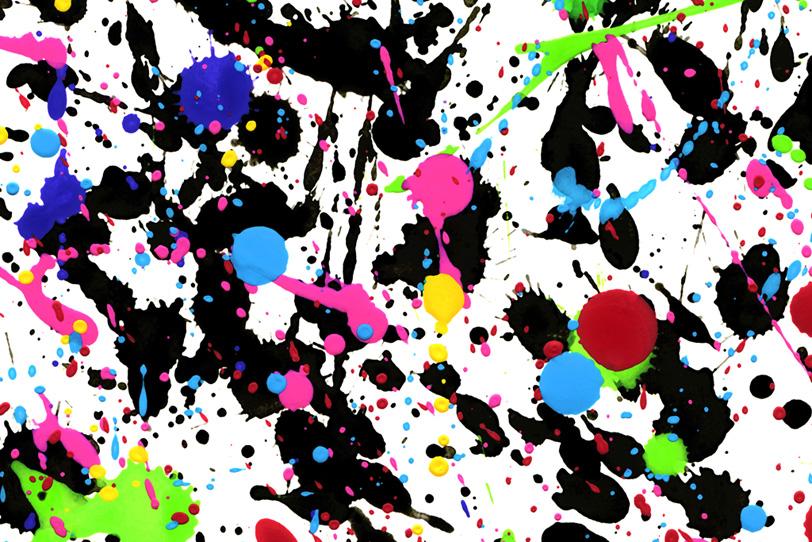 白の背景にポップな水彩絵具の壁紙