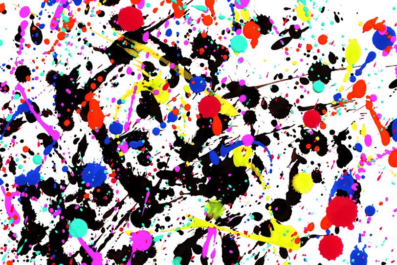 赤黒黄青のペイントがカッコイイ背景壁紙