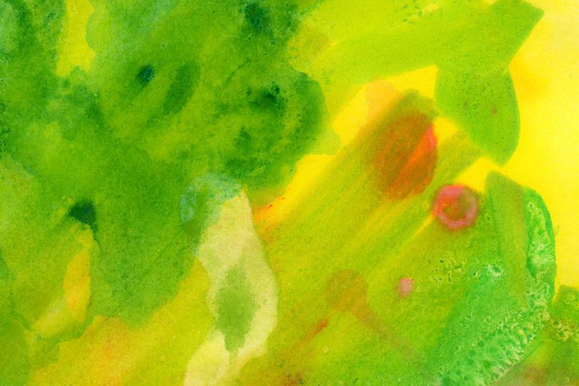 グリーンとイエローの水彩ペイントの写真画像
