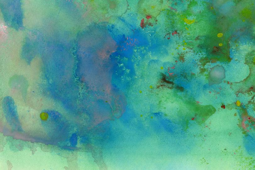 緑と青の滲みがつくる抽象イメージの写真画像