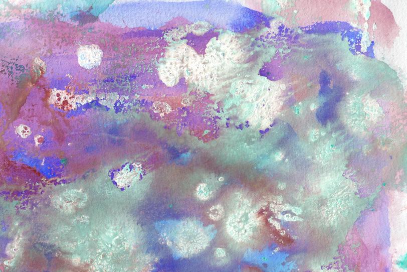 紫と白の滲みのある水彩ペイントの写真画像