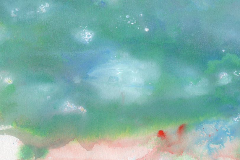 グリーンの抽象的な水彩画の写真画像