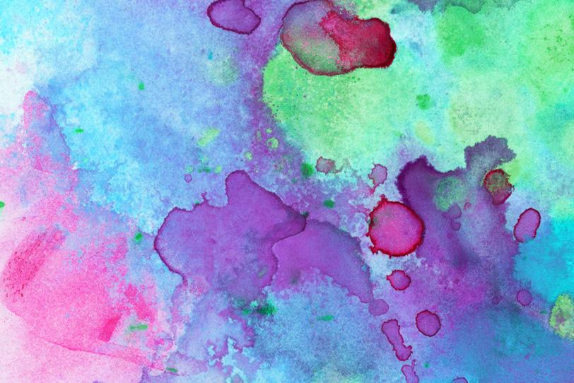 紫と緑とピンクの水彩グラデーション