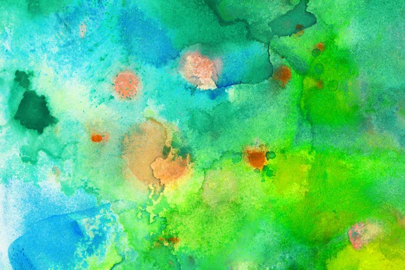 緑と青が滲む鮮やかな水彩背景