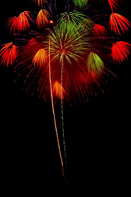 夜空に輝く花火のテクスチャ