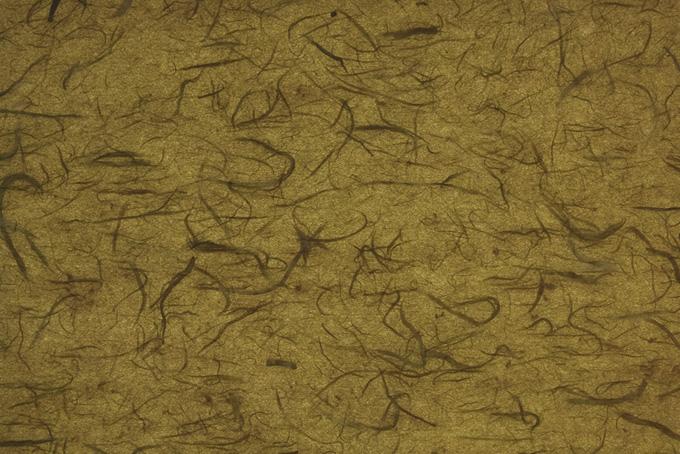 楮繊維が入った路考茶色の雲竜和紙