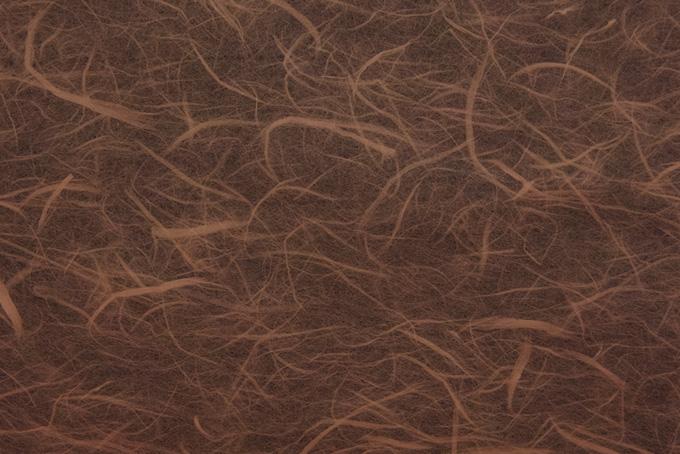 長い繊維が入った羊羹色の雲竜和紙