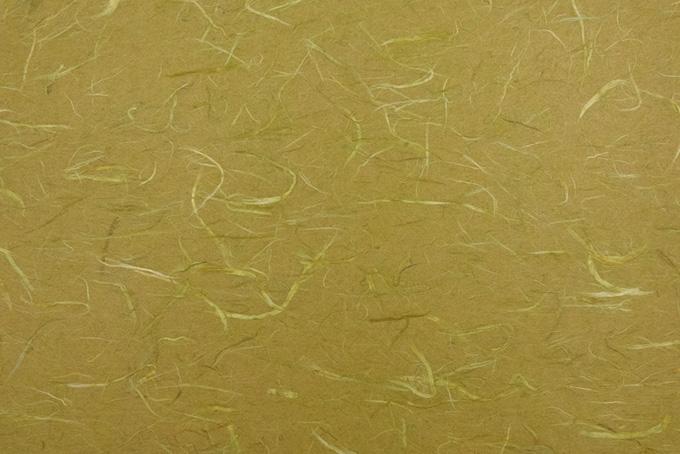 青朽葉色に白い楮の繊維がある和紙の背景