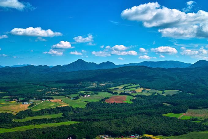 山沿いの丘にある牧場