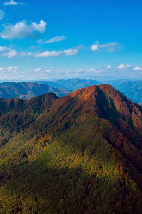 色彩が美しい秋の連山