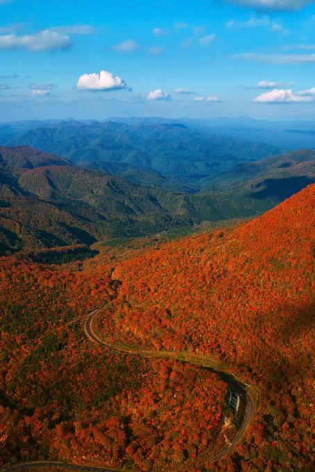 紅葉する山を縫う道