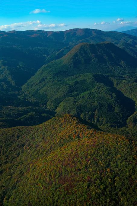 木々が色づき始める秋の山