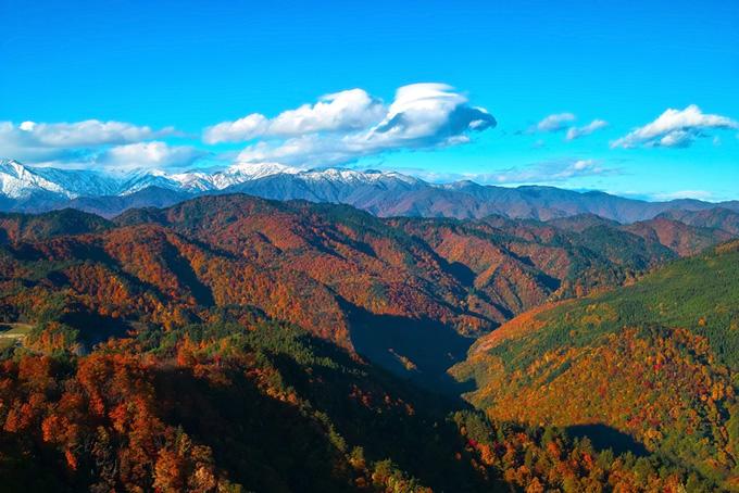 山・山林(紅葉 山のフリー画像)