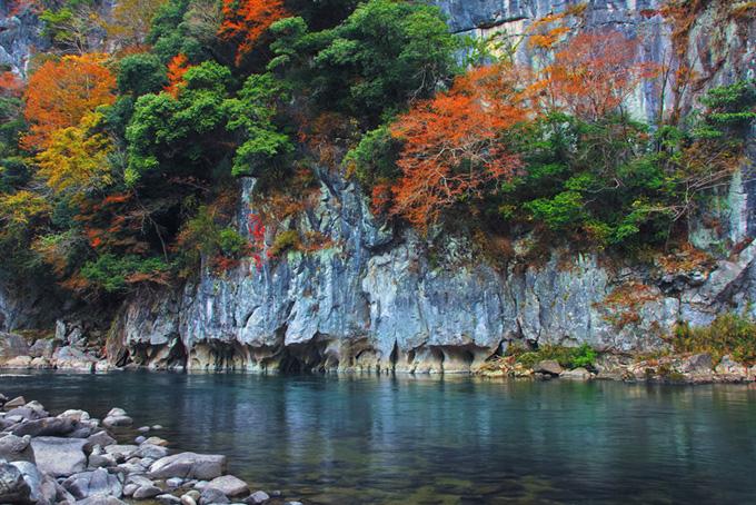 紅葉する渓谷に流れる綺麗な川の背景(紅葉 風景のフリー画像)