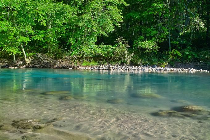 エメラルドグリーンの水の底に見える白い砂