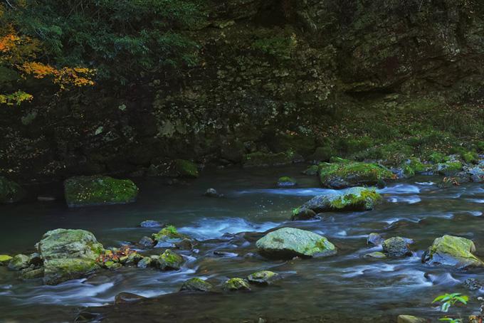静寂を感じる渓谷の写真素材