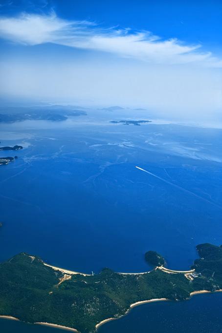 青い海と島の素材(海の画像)