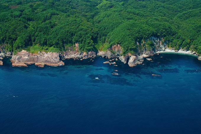 青い海に面した断崖