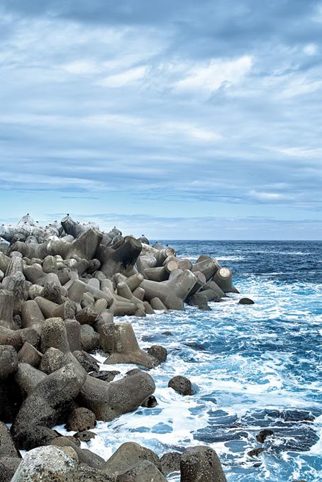 荒れる海のテトラポットとカモメ