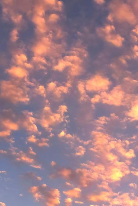 ピンクの雲が夕焼けに煌めく(空 おしゃれ テクスチャの画像)