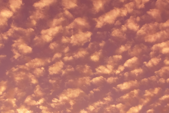 ちぎれ雲が夕焼け空を覆う(夕焼け フリーの画像)