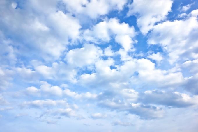 青空を覆う綿雲の群れ(青空のフリー写真)