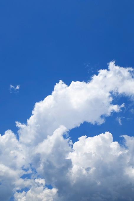 竜が登るような積乱雲と青空