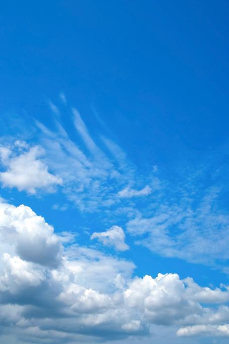 青空に群れ集う積雲と巻雲