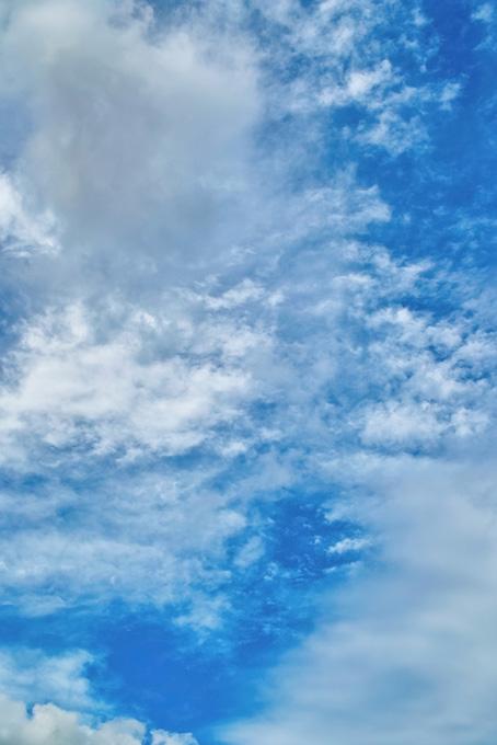青空を白く斑に染める雲