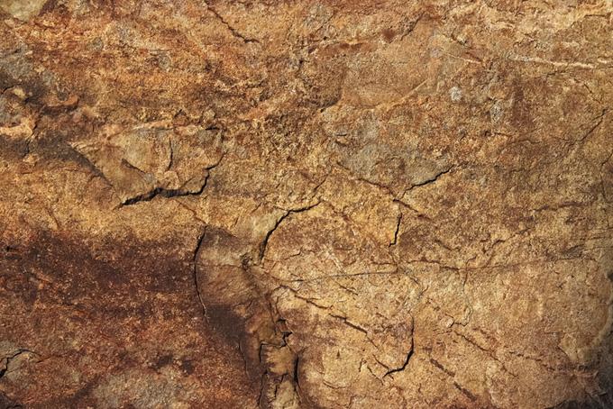 ヒビの入った茶色い岩肌
