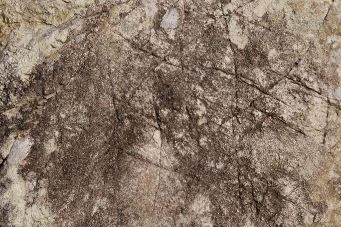 人工的な傷のある岩肌