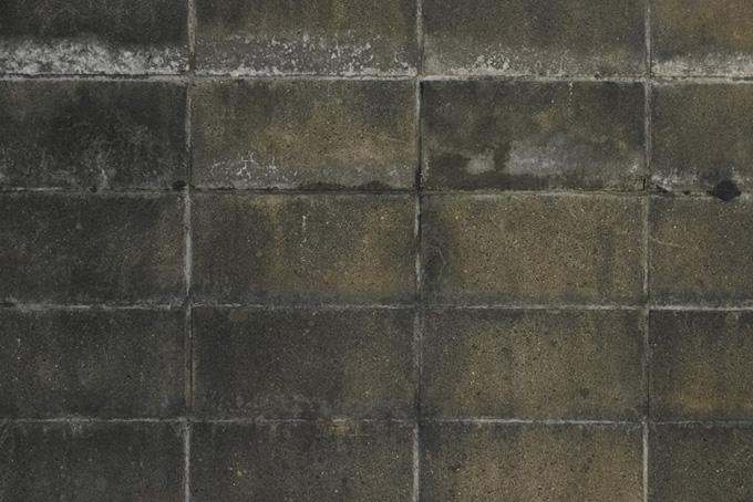 黒く汚れたブロック塀